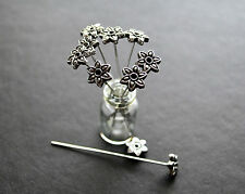 10 antique silver tone flower head pins ornate fancy floral  pins