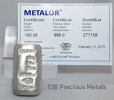 100g Metalor Silver Bar 999.0 Fine Silver, with Certificate of Authenticity
