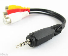 1pc Audio Video Joint Adapter Cable 2.5mm Male Plug to 3 RCA Jack Female 15cm