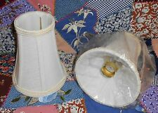 Chandelier/Candelabra Fabric LAMP SHADE in Cream/Ivory w/brass Slip-UNO fitters