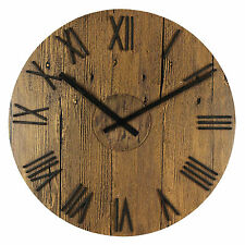 40CM ROUND WOOD PLANK EFFECT WALL CLOCK WITH RAISED ROMAN NUMERALS. NEW & BOXED.