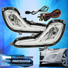 Chrome Clear Bumper Driving Fog Light Lamp Switch Wires For 12-16 Hyundai Accent