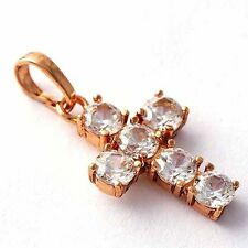 rose gold filled womens fashion jewelry shining crystal stone cross pendant