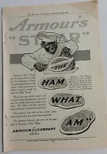 """ARMOUR'S """"STAR"""" 'THE HAM WHAT AM"""" 1911 AD, COLLIER'S REVIEW OF REVIEWS"""