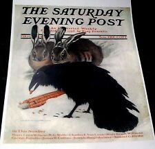 CROWS BLACK BIRD RAVENS EATING CORN RABBITS SNOW SATURDAY EVENING POST REPRINT