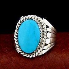 Native American Handmade Sterling Silver Turquoise Ring Size 9 --- R39 C T