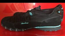 Ladies Skechers Black Leather Athletic Shoes Size 10