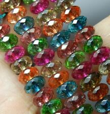 5x8mm Multicolor Tourmaline Gems Faceted Abacus Loose Bead 15''