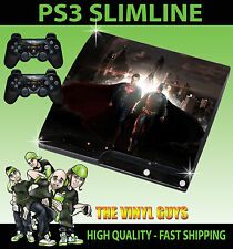 PLAYSTATION 3 SLIM PS3 SLIM BATMAN VS SUPERMAN HEROES STICKER SKIN & 2 PAD SKINS