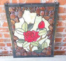 """NEW 18x24"""" Framed Genuine Agate & Jade Stained Glass Window Panel 190 Pcs. $350."""