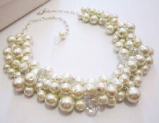 Fashion Necklace Chunky Pearl Necklace Bubble Bib Statement Collar Necklace