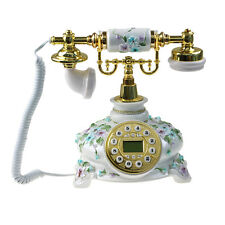 Blue Floral Caller ID Old Fashioned Phone Retro Vintage Telephone Home Decor