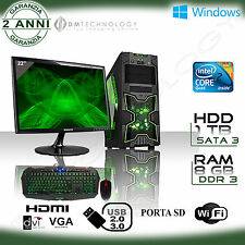 PC DESKTOP INTEL QUAD CORE GAMING WIFI/HD 1TB/RAM 8GB/USB3.0 /MONITOR LED 22""