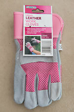 Gardman Outdoor Womens Garden Work Gloves Pink Cow Split Leather One Size
