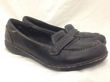 Clarks Bendables Womens Size 9M Black Leather Slip On Apron Loafers Flats Strap