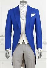 New Fashion Royal Blue Groom Long Tailcoat Tuxedo Best Man Wedding Suits