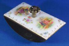 Vintage Brass and Porcelain Rocker Desk Blotter with Gold Colored Trim