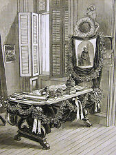 Frank Leslie's Desk and Chair in EDITORIAL ROOM of NEWSPAPER 1880 Print Matted