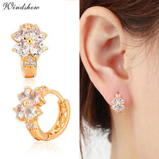 Girls 18K Gold GF Heart Cut Clear CZ Zircon Petal Clover Huggie Hoop Earrings