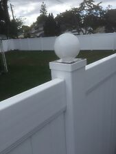 "LED Round Solar Fence Cap Post Light For 5x5 PVC / Vinyl Posts - White 5"" X 5"""