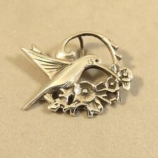 .925 Sterling Silver DETAILED HUMMINGBIRD WITH FLOWERS PENDANT PW81