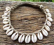 Hand Made Hemp Macrame Necklace with Cowrie Shells, Bohemian Gypsy