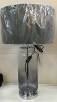 Modern Retro Ombré Smoke Grey Glass Silver Base Table Lamp NEW Drum Shade