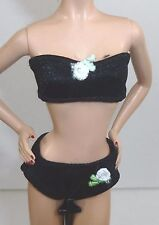 NEW BARBIE DOLL BLACK UNDERWEAR WITH FLOWER CLOTHES ACCESSORIES