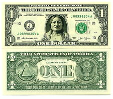 SITTING BULL VRAI BILLET DOLLAR US! Collection Histoire Indien Amérique Far West