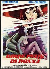 DOLCE PELLE DI DONNA MANIFESTO CINEMA FILM ..AVERE LE ALI BAGNATE 1978 POSTER 2F