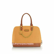 JOY & IMAN Genuine Leather Timeless Chic Leading Lady Bag + Watch Peach Nectar