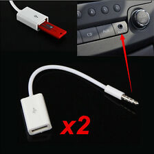 2x 3.5mm Male AUX Audio Plug Jack to USB2.0 Female Converter Cable Cord Car MP3