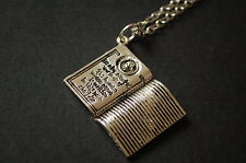silver tone death note book necklace vintage