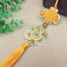 Feng Shui Fortune Coin Tassel Gold Hanging Peace Chinese Knot Car Decoration