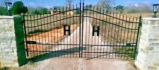 Wrought Iron Driveway Entry Gate 13ft Wide, Dual Swing, Handrails, Fence, Beds.