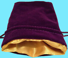 PURPLE VELVET & LUXURY SATIN GOLD Lining DICE BAG NEW 6x8 Storage Pouch MDG Silk