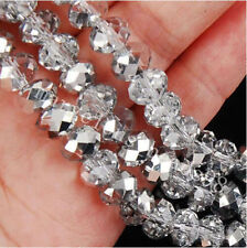 Charming 4mm size Glass Beads Rondelle Spacer Loose Crystal Beads 148pcs Silver#
