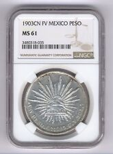 MEXICO CULIACAN 1903-Cn-FV  1 PESO SILVER COIN, NGC CERTIFIED UNCIRCULATED MS-61