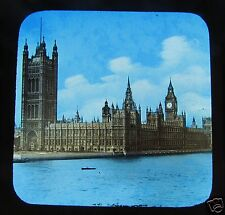 Glass Magic lantern Slide LONDON HOUSES OF PARLIAMENT C1890 VICTORIAN ENGLAND