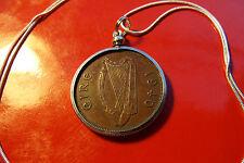 "RAREST KEY DATE "" 1940 "" IRISH PENNY PENDANT  on 30"" 925 Silver Snake Chain"