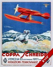 VINTAGE 1927 VENICE ITALY SEAPLANE AIR RACES SCHNEIDER TROPHY ADVERT POSTER