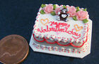 1:12 Scale Oblong Pink & White Valentines Cake Dolls Miniature House Food NC95v