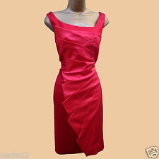 Karen Millen Signature Stretch Satin Fan Pleat Red Colour Block Wiggle Dress 12