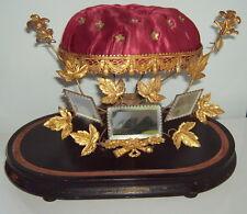 Interieur de Globe de Mariée Couronne Ancien Napoleon III French Socle Boite