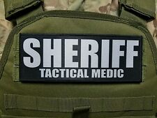 "3x8"" SHERIFF TACTICAL MEDIC Black Hook Back Morale RAID Patch SWAT LEO Badge"