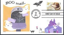 HALLOWEEN  BOO MAIL  GHOSTS  CATS BATS HAUNTED HOUSE  OWNEY POSTAL DOG  FDC- DWc