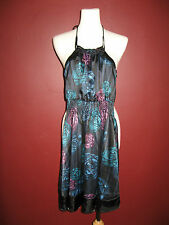 DKNY Jeans donna karan XS black blue teal purple floral halter dress A7