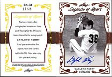2011 LEAF LEGENDS OF SPORT GOLD GAYLORD PERRY AUTOGRAPH #BA31, AUTO /36, GEM