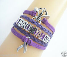 NEW Butterfly FIBROMYALGIA Cancer Ribbon Charms Suede Leather Braided Bracelet