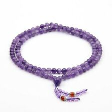 8mm Amethyst Tibet Buddhist 108 Prayer Beads Mala Necklace